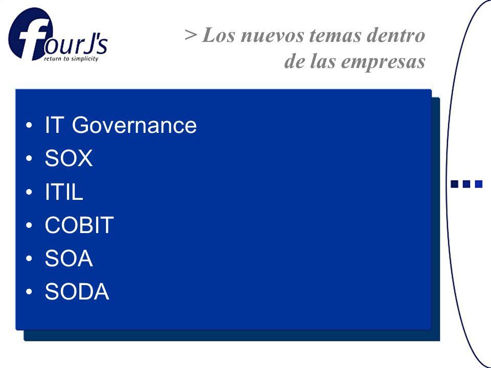 IT Governance SOX ITIL COBIT SOA SODA > Los nuevos temas dentro de las empresas