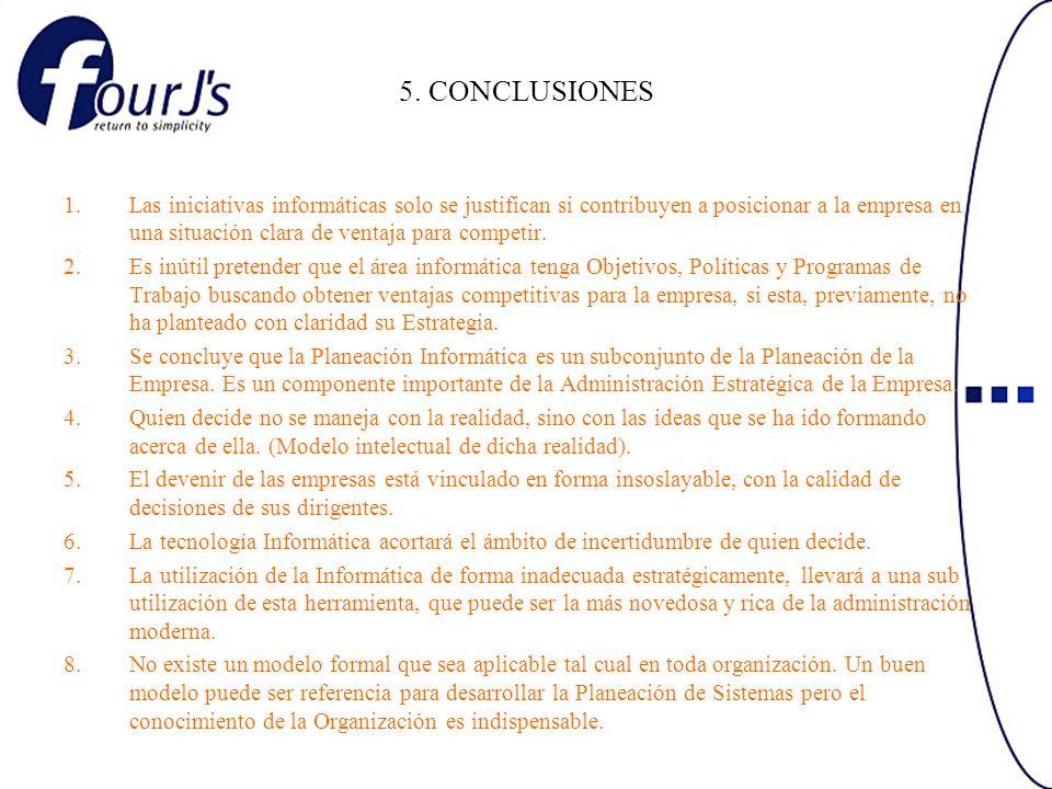 5. CONCLUSIONES 1.Las iniciativas informáticas solo se justifican si contribuyen a posicionar a la empresa en una situación clara de ventaja para comp