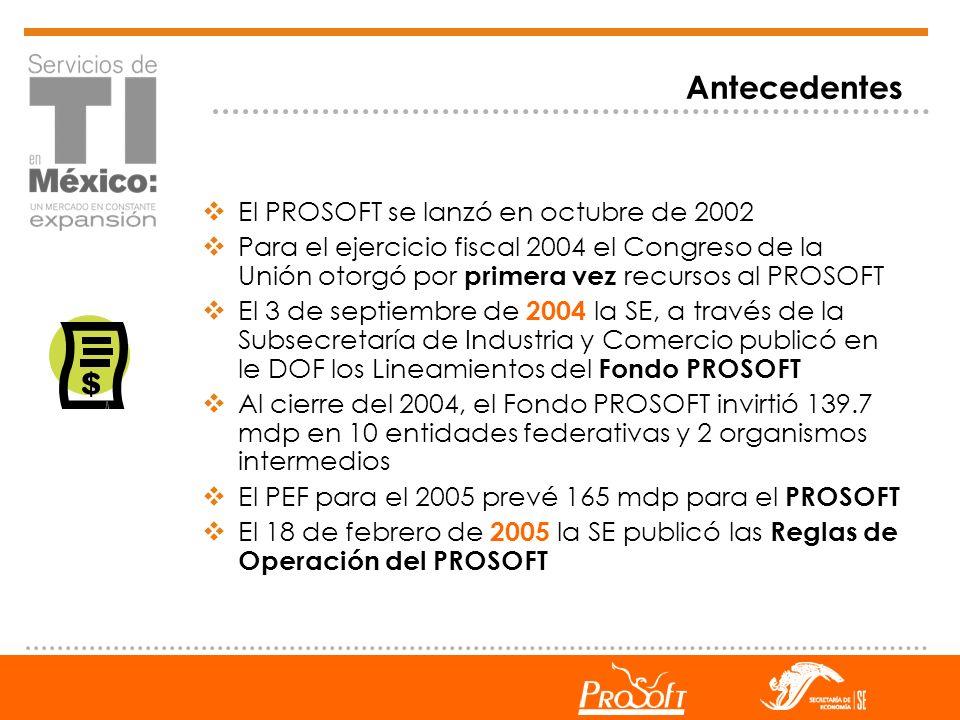 Antecedentes El PROSOFT se lanzó en octubre de 2002 Para el ejercicio fiscal 2004 el Congreso de la Unión otorgó por primera vez recursos al PROSOFT E