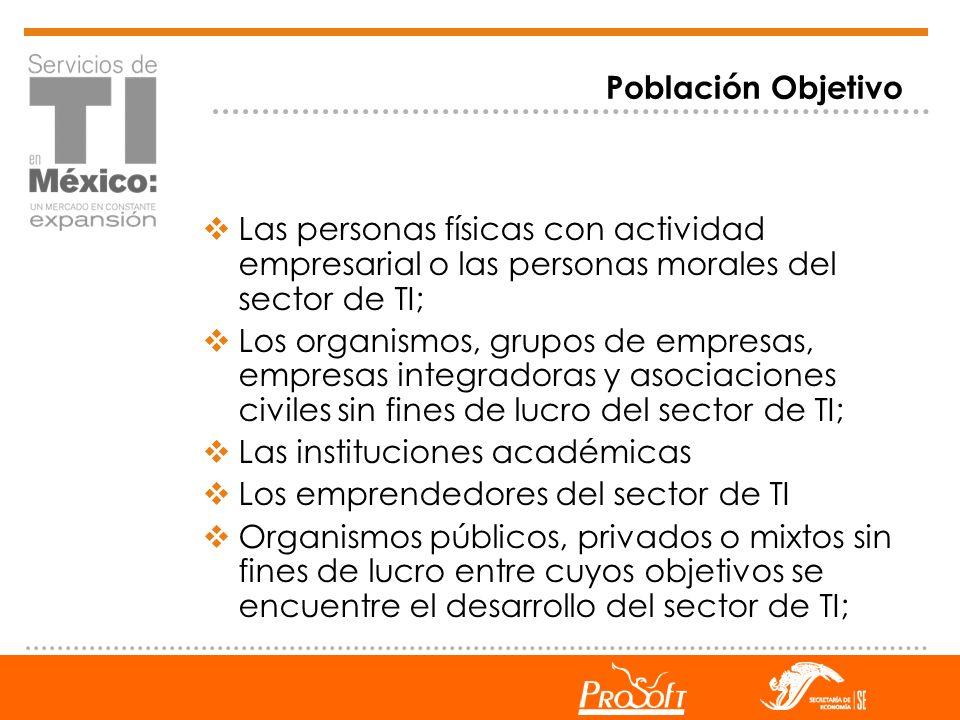 Población Objetivo Las personas físicas con actividad empresarial o las personas morales del sector de TI; Los organismos, grupos de empresas, empresa