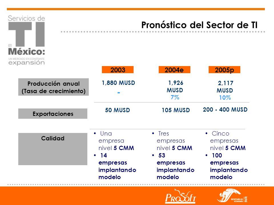 1,880 MUSD - Calidad Exportaciones 20032004e 1,926 MUSD 7% 50 MUSD Una empresa nivel 5 CMM 14 empresas implantando modelo 2005p Producción anual (Tasa