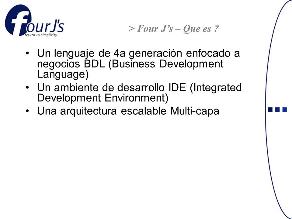 Un lenguaje de 4a generación enfocado a negocios BDL (Business Development Language) Un ambiente de desarrollo IDE (Integrated Development Environment