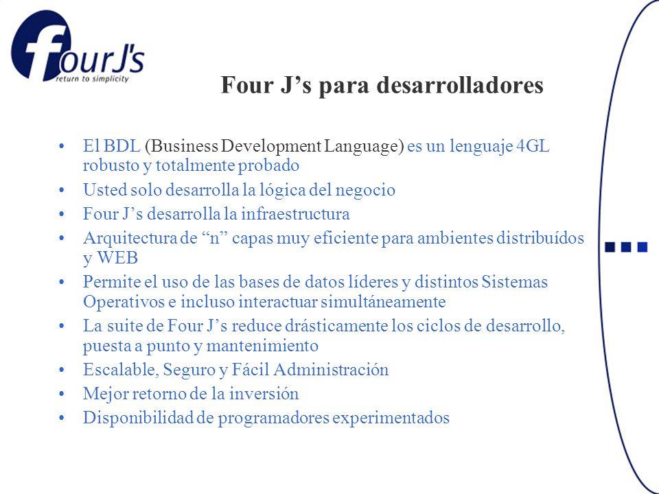 Four Js para desarrolladores El BDL (Business Development Language) es un lenguaje 4GL robusto y totalmente probado Usted solo desarrolla la lógica de