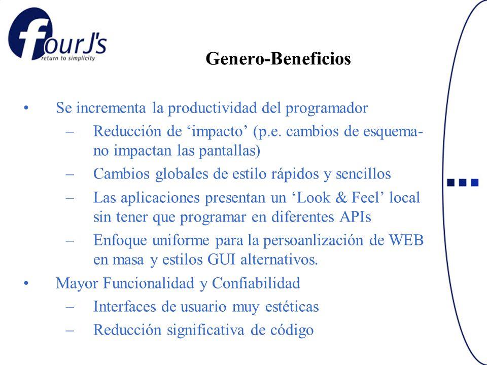 Genero-Beneficios Se incrementa la productividad del programador –Reducción de impacto (p.e. cambios de esquema- no impactan las pantallas) –Cambios g