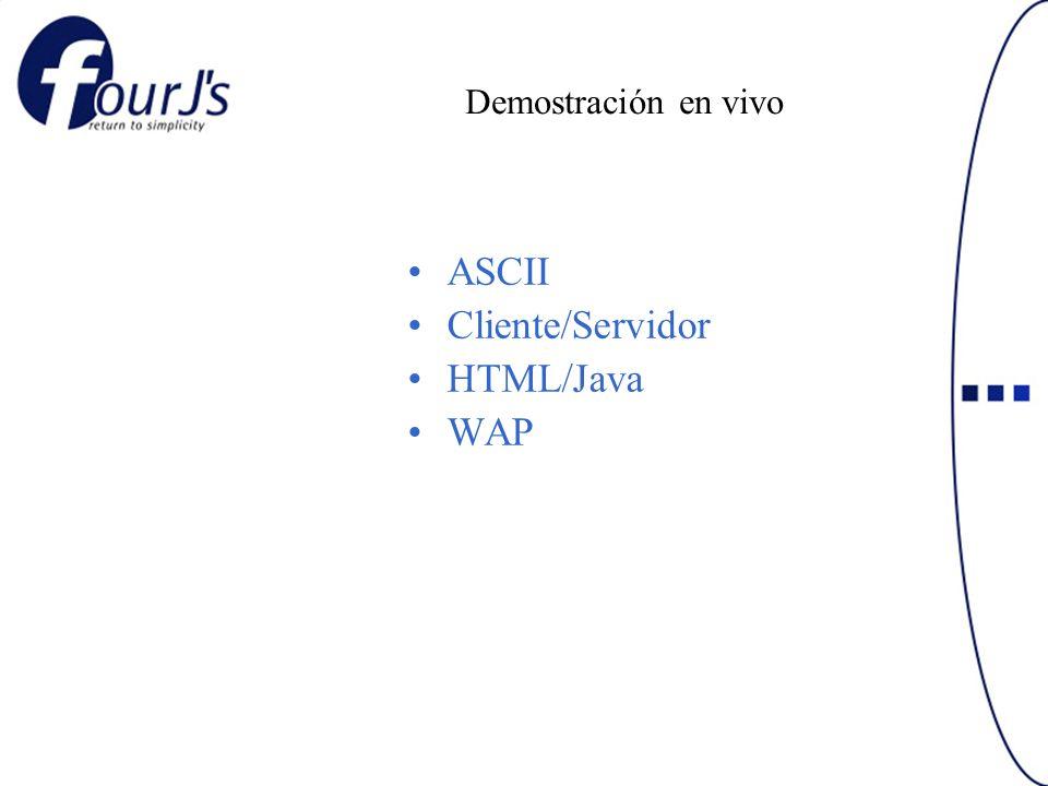Demostración en vivo ASCII Cliente/Servidor HTML/Java WAP