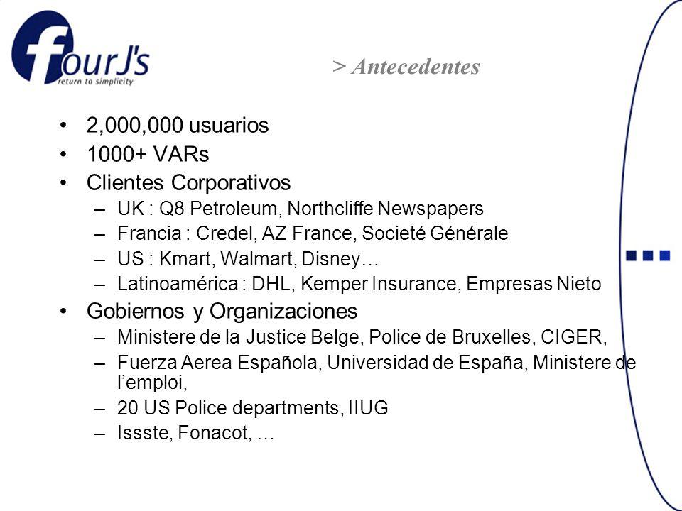 2,000,000 usuarios 1000+ VARs Clientes Corporativos –UK : Q8 Petroleum, Northcliffe Newspapers –Francia : Credel, AZ France, Societé Générale –US : Km