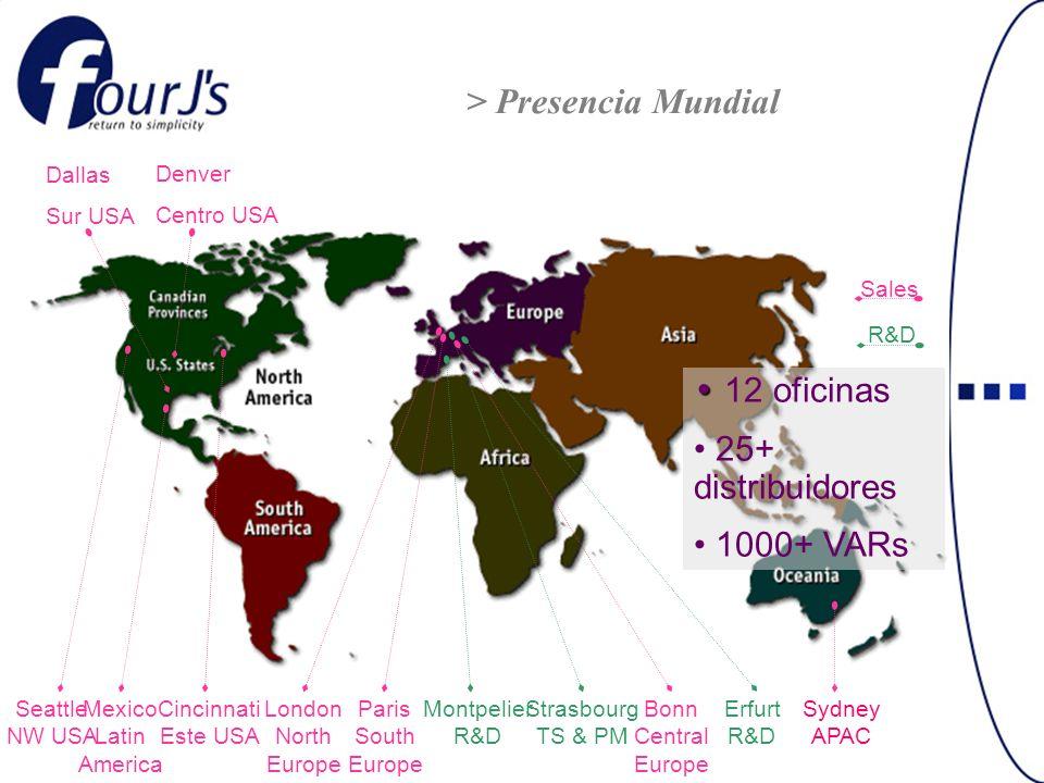 Four Js Latinoamérica Subsidiaria de Four Js Development Tools para atender los aspectos comerciales, capacitación y soporte técnico Clase Mundial en la región Inicia operaciones en Abril del 2000 Actualmente 5000+ licencias en operación –ISSSTE, Fonacot, AAADAM, DHL, Kemper Insurance (Seguros La Territorial) –Nintendo, Empresas Nieto, …