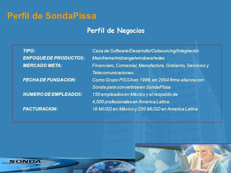 Perfil de SondaPissa Perfil de Negocios TIPO: Casa de Software/Desarrollo/Outsourcing/Integración ENFOQUE DE PRODUCTOS: Mainframe/midrange/windows/redes MERCADO META: Financiero, Comercial, Manufactura, Gobierno, Servicios y Telecomunicaciones.