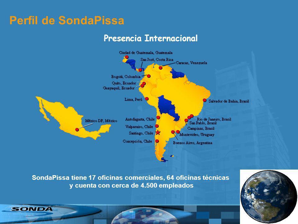 SondaPissa tiene 17 oficinas comerciales, 64 oficinas técnicas y cuenta con cerca de 4.500 empleados Perfil de SondaPissa Presencia Internacional