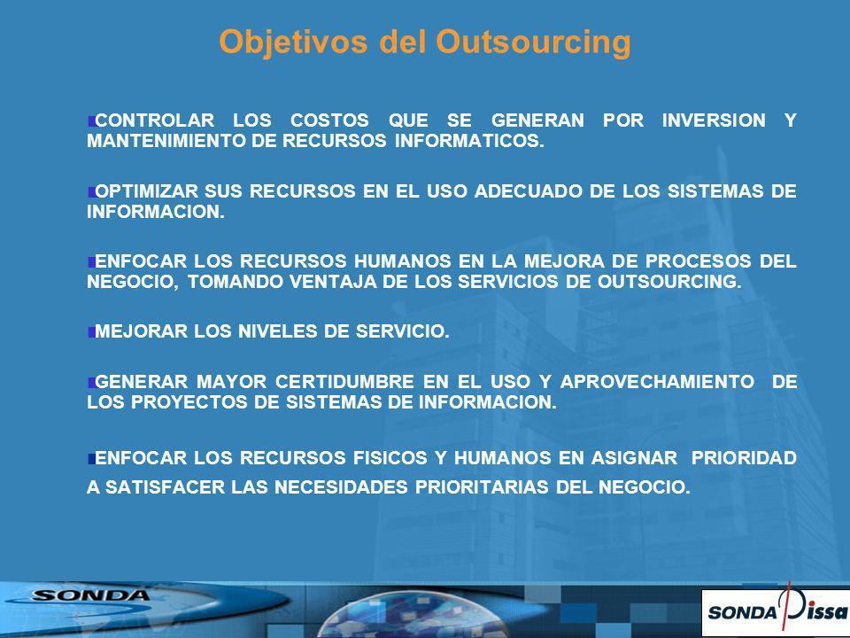 Objetivos del Outsourcing CONTROLAR LOS COSTOS QUE SE GENERAN POR INVERSION Y MANTENIMIENTO DE RECURSOS INFORMATICOS. OPTIMIZAR SUS RECURSOS EN EL USO