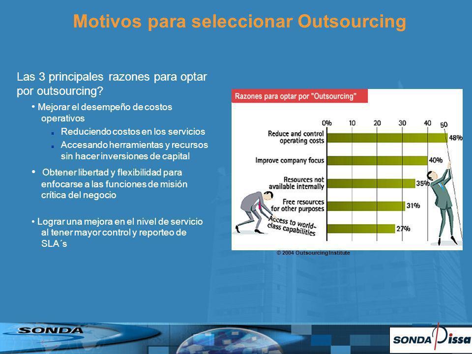 Las 3 principales razones para optar por outsourcing? Mejorar el desempeño de costos operativos Reduciendo costos en los servicios Accesando herramien