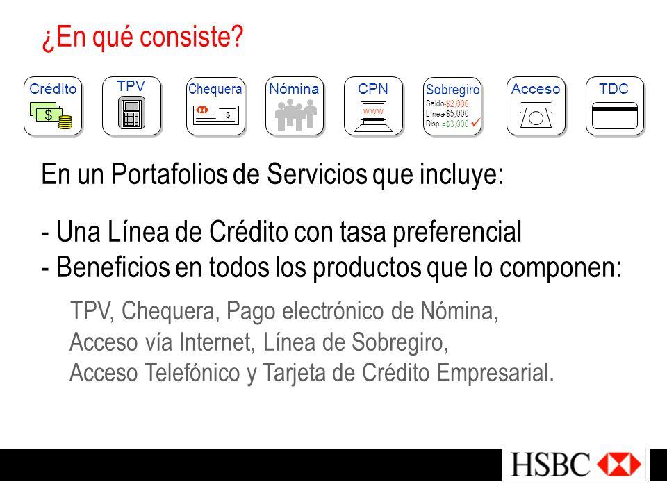 ¿En qué consiste? En un Portafolios de Servicios que incluye: - U- Una Línea de Crédito con tasa preferencial - B- Beneficios en todos los productos q