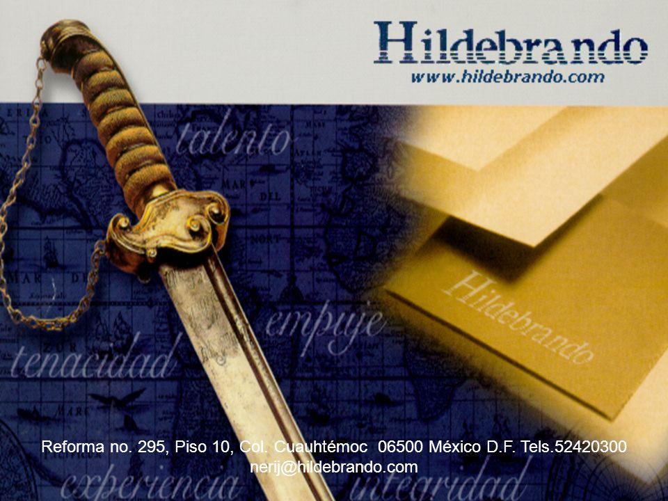 Página: 1 Reforma no. 295, Piso 10, Col. Cuauhtémoc 06500 México D.F. Tels.52420300 nerij@hildebrando.com