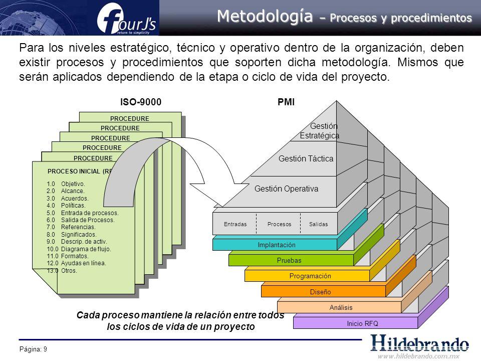 Página: 9 Para los niveles estratégico, técnico y operativo dentro de la organización, deben existir procesos y procedimientos que soporten dicha meto