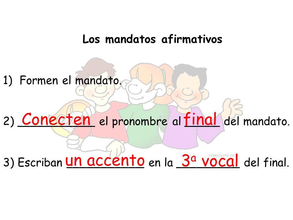 Los mandatos afirmativos 1)Formen el mandato. 2) ___________ el pronombre al _____ del mandato. 3) Escriban ___________ en la _________ del final. Con