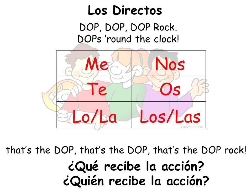 Los Directos DOP, DOP, DOP Rock. DOPs round the clock! thats the DOP, thats the DOP, thats the DOP rock! Me Te Lo/La Nos Os Los/Las ¿Qué recibe la acc