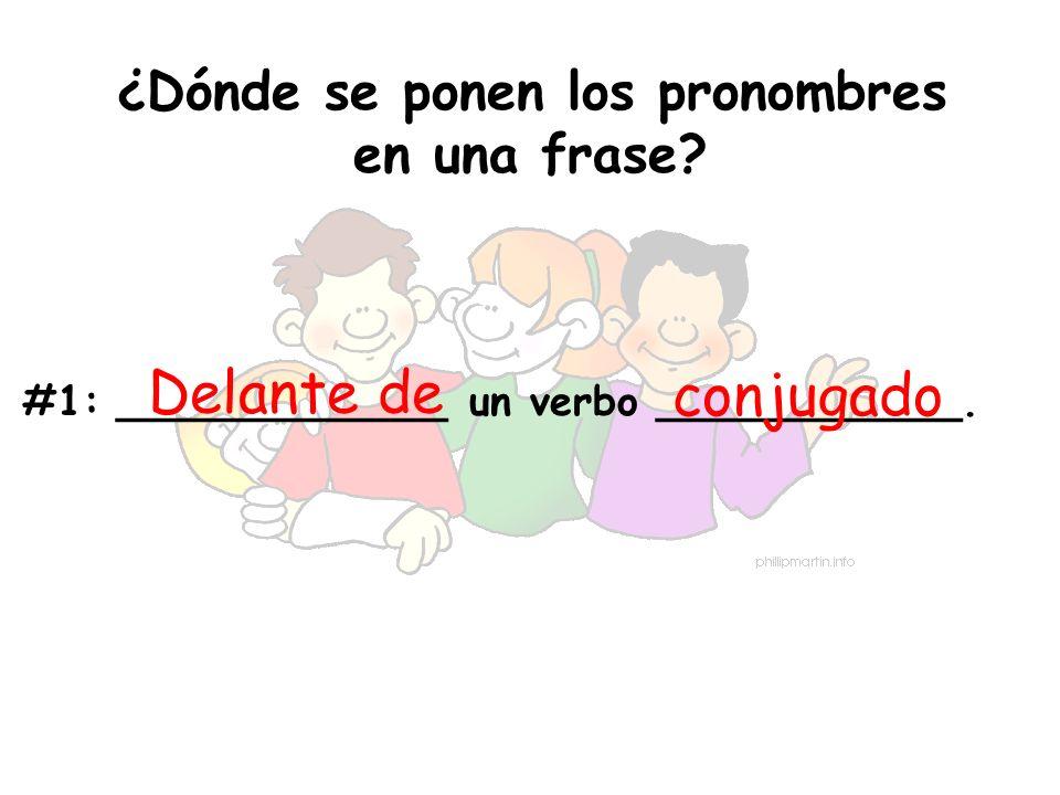 ¿Dónde se ponen los pronombres en una frase? #1:_____________ un verbo ____________. Delante de conjugado