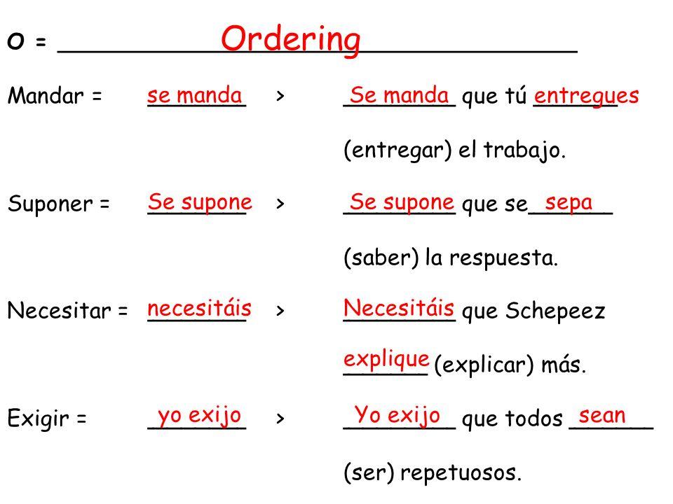O = _____________________________________ Mandar = _______> ________ que tú ______ (entregar) el trabajo.