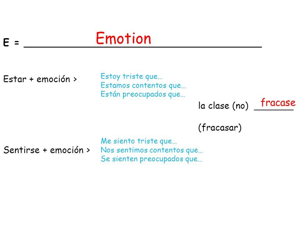 la clase (no) _______ (fracasar) E = ______________________________________ Estar + emoción > Sentirse + emoción > Emotion fracase Estoy triste que… E