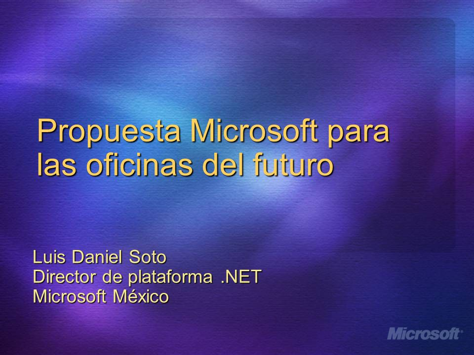 Windows 2003 Server Services.NET Framework Arquitectura de aplicación IBF Information Bridge Framework IBF Metadata Store SQL Server 2000 IBF (Metadata Service) Windows Client XML Microsoft Office Professional Edition Web Services.NET Framework Information Bridge Framework Client Server CRMERPOther Data Metadata Service Information Bridge Engine 1 User selects Show Details from Smart Tag 2 CAS Interprets Context using Metadata 3 Call Web Service to retrieve data Smart Tag Displays data in Taskpane 5 4 Returns data