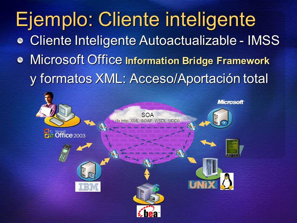 Ejemplo: Cliente inteligente Cliente Inteligente Autoactualizable - IMSS Microsoft Office Information Bridge Framework y formatos XML: Acceso/Aportaci