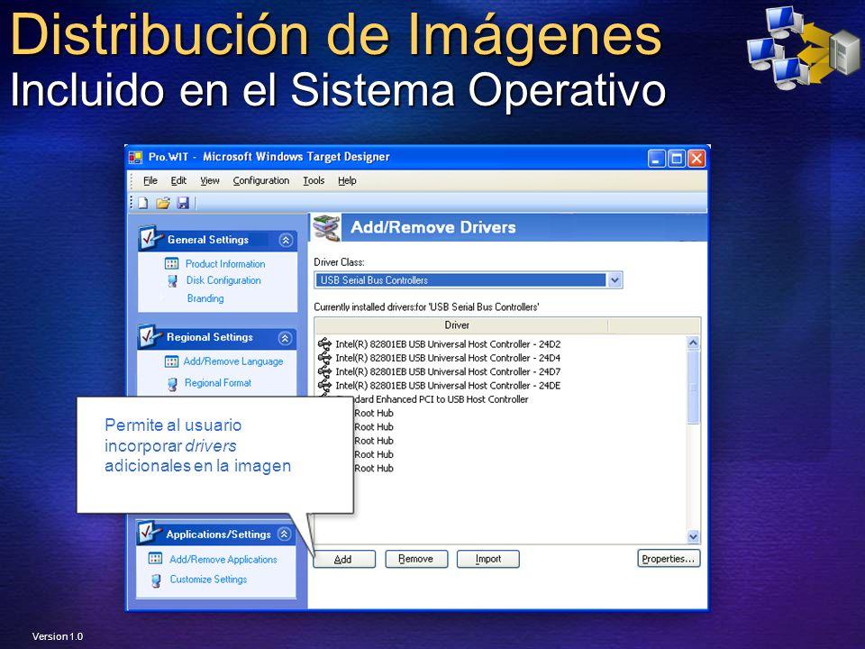 Distribución de Imágenes Incluido en el Sistema Operativo Permite al usuario incorporar drivers adicionales en la imagen Version 1.0