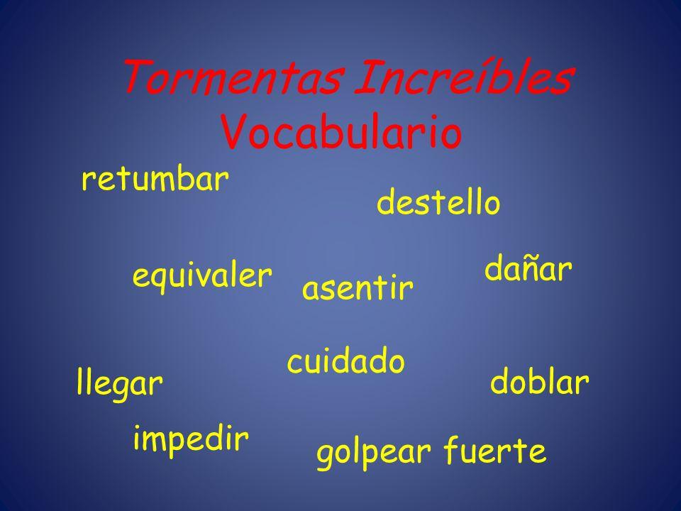Tormentas Increíbles Vocabulario retumbar destello dañar equivaler cuidado doblar llegar impedir golpear fuerte asentir