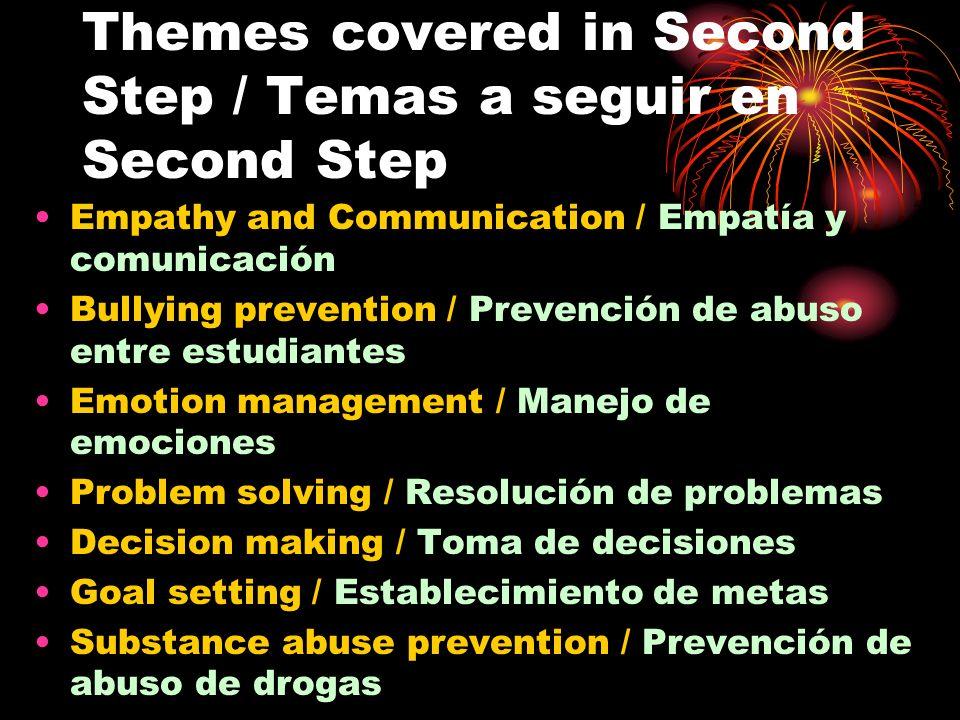 Themes covered in Second Step / Temas a seguir en Second Step Empathy and Communication / Empatía y comunicación Bullying prevention / Prevención de a