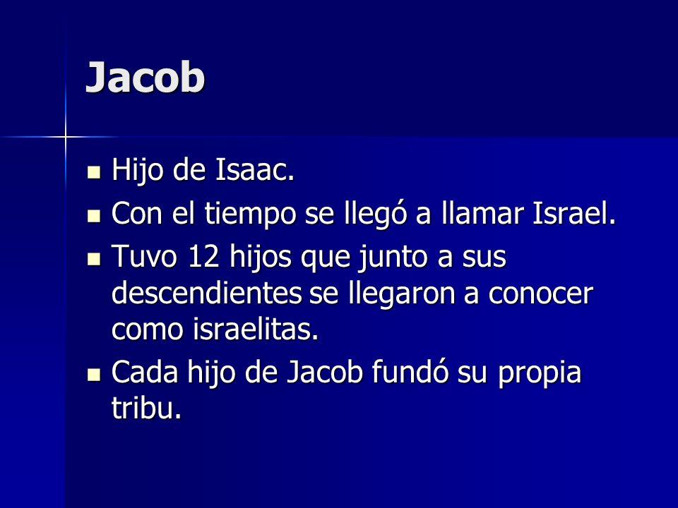 Jacob Hijo de Isaac. Hijo de Isaac. Con el tiempo se llegó a llamar Israel. Con el tiempo se llegó a llamar Israel. Tuvo 12 hijos que junto a sus desc