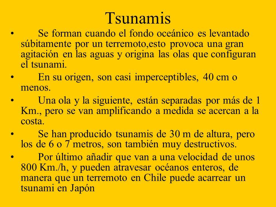 Tsunamis Se forman cuando el fondo oceánico es levantado súbitamente por un terremoto,esto provoca una gran agitación en las aguas y origina las olas que configuran el tsunami.