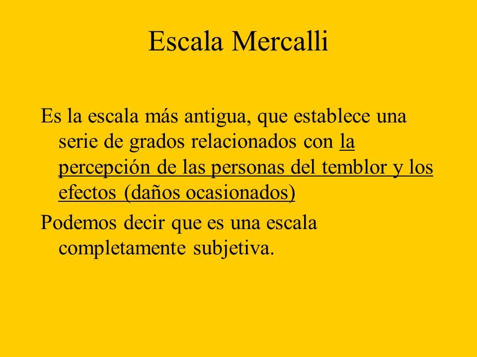 Escala Mercalli Es la escala más antigua, que establece una serie de grados relacionados con la percepción de las personas del temblor y los efectos (daños ocasionados) Podemos decir que es una escala completamente subjetiva.