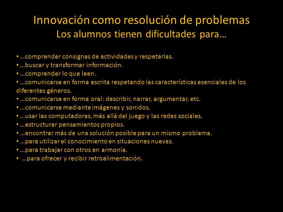 Innovación como resolución de problemas Los alumnos tienen dificultades para… …comprender consignas de actividades y respetarlas. …buscar y transforma
