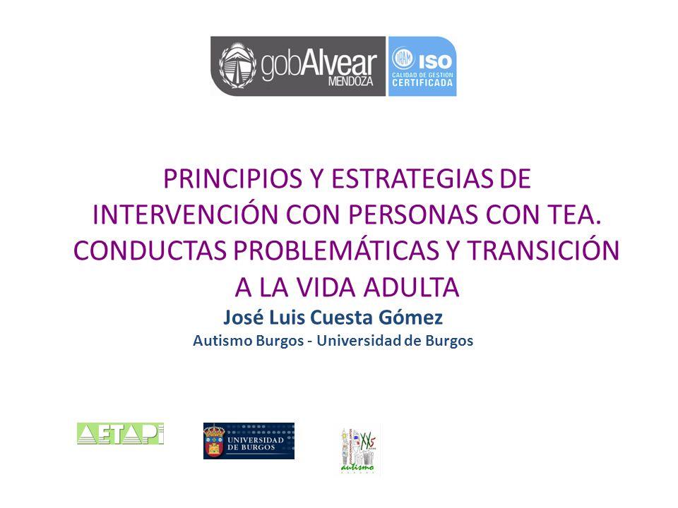 PRINCIPIOS Y ESTRATEGIAS DE INTERVENCIÓN CON PERSONAS CON TEA. CONDUCTAS PROBLEMÁTICAS Y TRANSICIÓN A LA VIDA ADULTA José Luis Cuesta Gómez Autismo Bu
