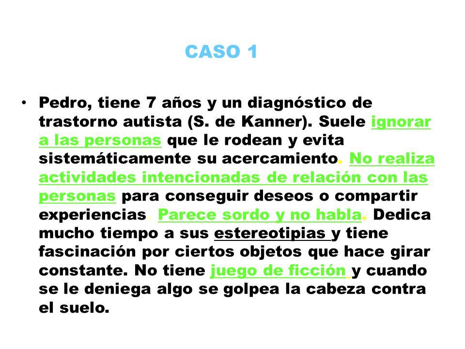CASO 1 Pedro, tiene 7 años y un diagnóstico de trastorno autista (S. de Kanner). Suele ignorar a las personas que le rodean y evita sistemáticamente s