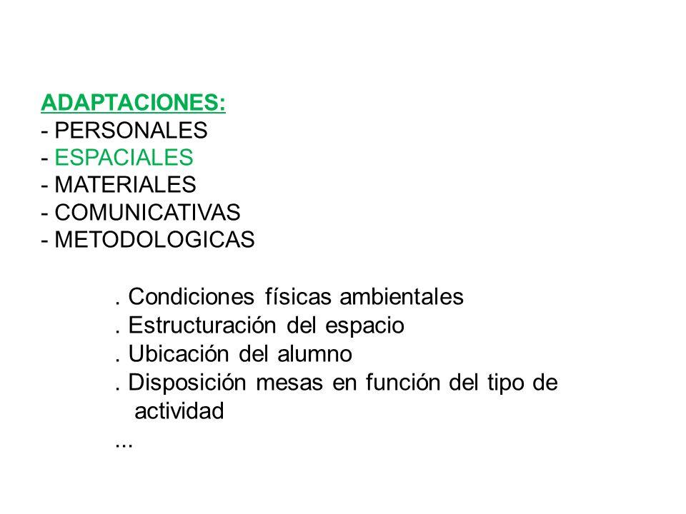 ADAPTACIONES: - PERSONALES - ESPACIALES - MATERIALES - COMUNICATIVAS - METODOLOGICAS. Condiciones físicas ambientales. Estructuración del espacio. Ubi