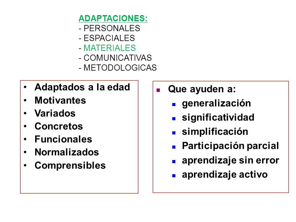 Adaptados a la edad Motivantes Variados Concretos Funcionales Normalizados Comprensibles Que ayuden a: generalización significatividad simplificación