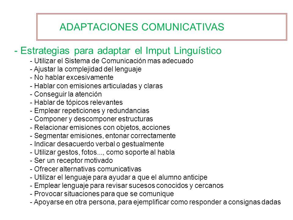 ADAPTACIONES COMUNICATIVAS - Estrategias para adaptar el Imput Linguístico - Utilizar el Sistema de Comunicación mas adecuado - Ajustar la complejidad