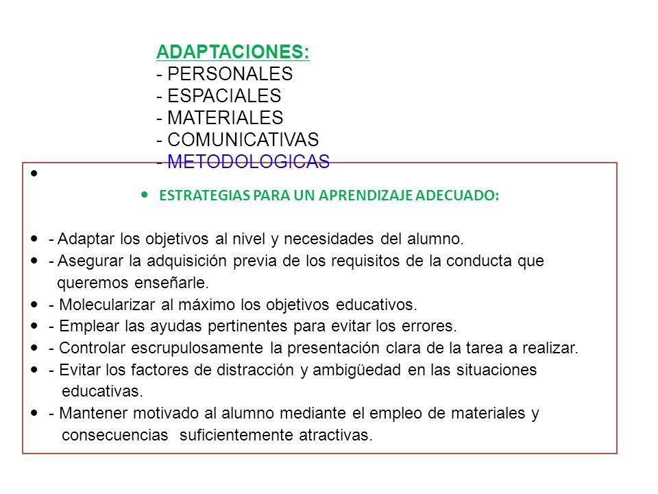 ESTRATEGIAS PARA UN APRENDIZAJE ADECUADO: - Adaptar los objetivos al nivel y necesidades del alumno. - Asegurar la adquisición previa de los requisito