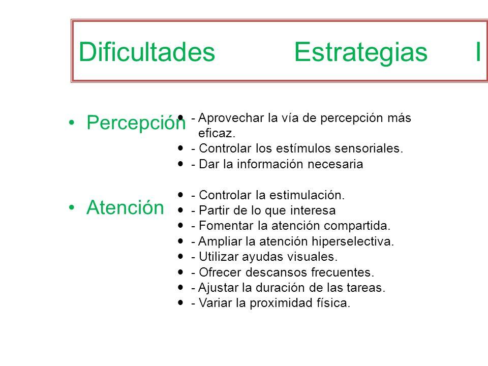 Dificultades Estrategias I Percepción Atención - Aprovechar la vía de percepción más eficaz. - Controlar los estímulos sensoriales. - Dar la informaci