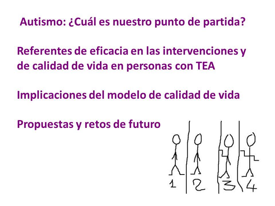 Autismo: ¿Cuál es nuestro punto de partida? Referentes de eficacia en las intervenciones y de calidad de vida en personas con TEA Implicaciones del mo