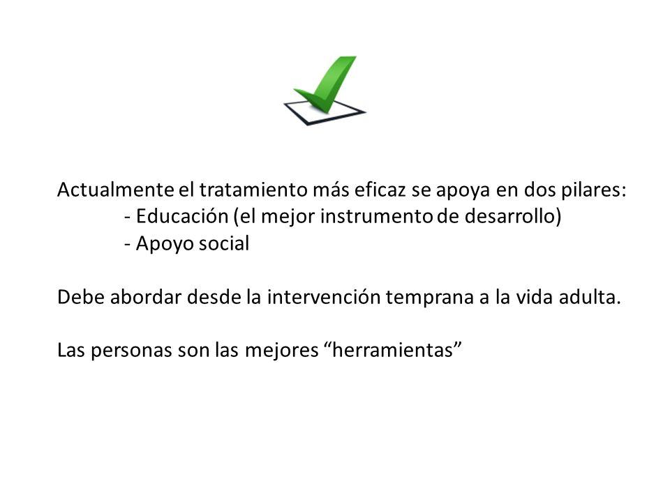 . Actualmente el tratamiento más eficaz se apoya en dos pilares: - Educación (el mejor instrumento de desarrollo) - Apoyo social Debe abordar desde la