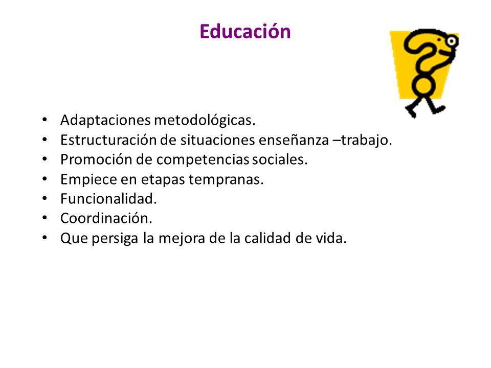 Educación Adaptaciones metodológicas. Estructuración de situaciones enseñanza –trabajo. Promoción de competencias sociales. Empiece en etapas temprana