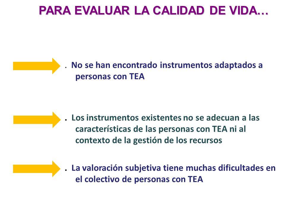 . No se han encontrado instrumentos adaptados a personas con TEA. Los instrumentos existentes no se adecuan a las características de las personas con