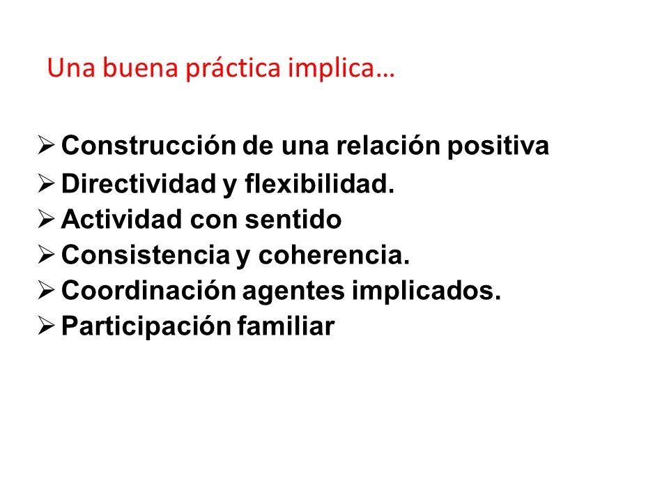 Construcción de una relación positiva Directividad y flexibilidad. Actividad con sentido Consistencia y coherencia. Coordinación agentes implicados. P