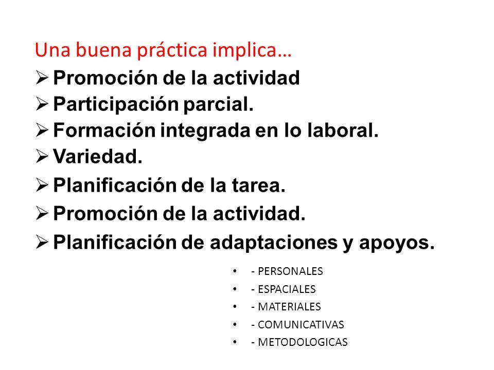 Promoción de la actividad Participación parcial. Formación integrada en lo laboral. Variedad. Planificación de la tarea. Promoción de la actividad. Pl