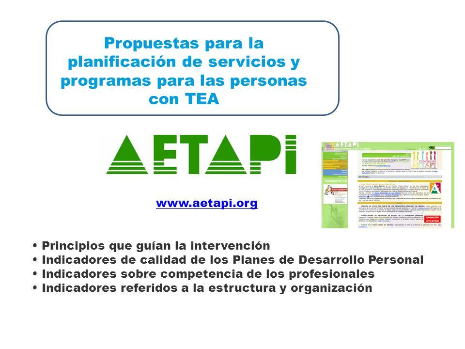 Propuestas para la planificación de servicios y programas para las personas con TEA www.aetapi.org Principios que guían la intervención Indicadores de