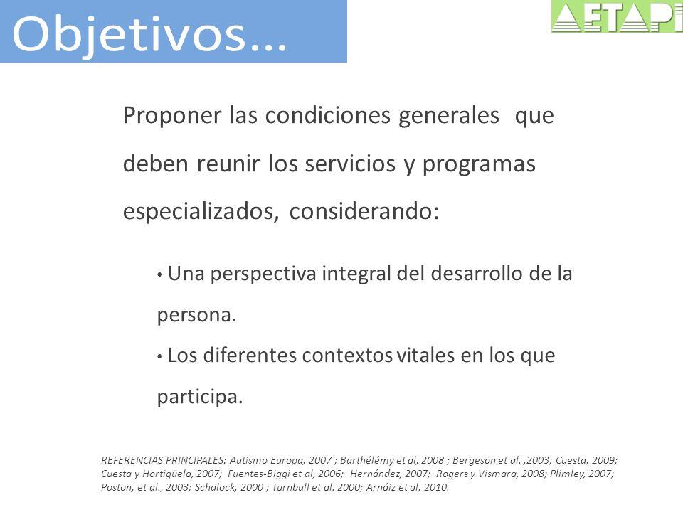 Proponer las condiciones generales que deben reunir los servicios y programas especializados, considerando: Una perspectiva integral del desarrollo de