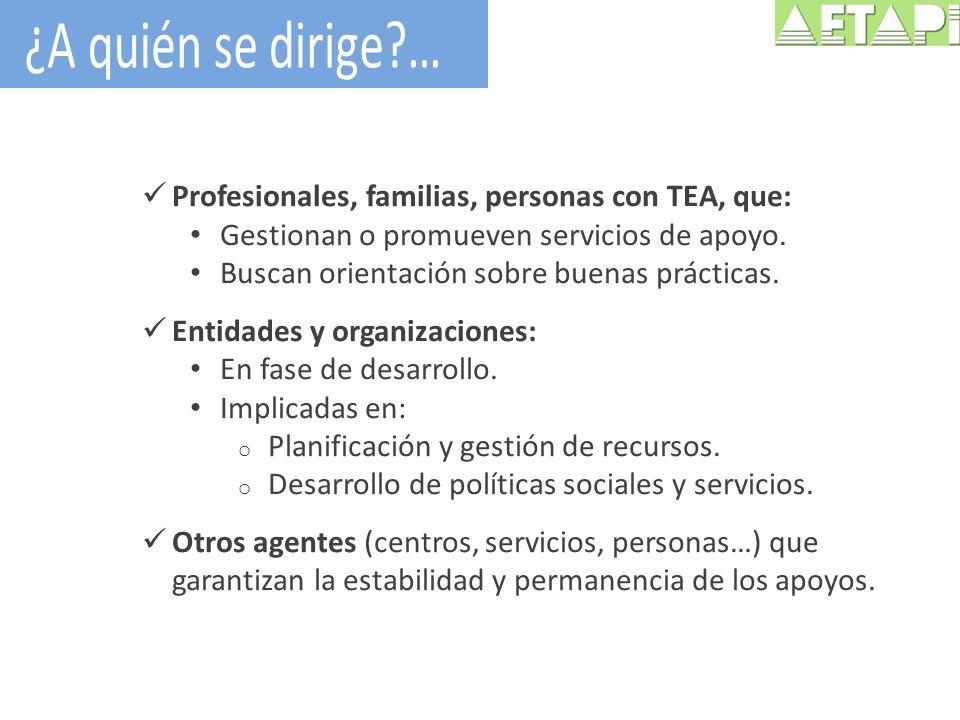 Profesionales, familias, personas con TEA, que: Gestionan o promueven servicios de apoyo. Buscan orientación sobre buenas prácticas. Entidades y organ