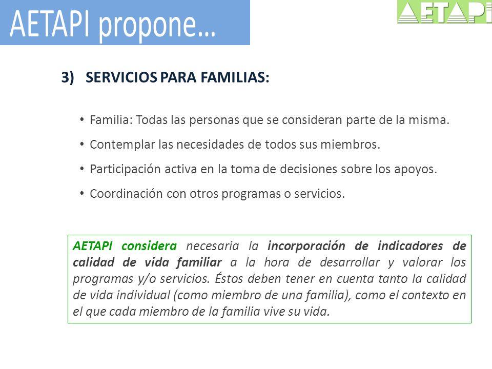 3)SERVICIOS PARA FAMILIAS: Familia: Todas las personas que se consideran parte de la misma. Contemplar las necesidades de todos sus miembros. Particip