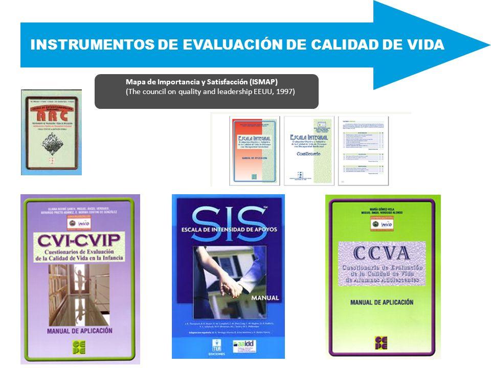 INSTRUMENTOS DE EVALUACIÓN DE CALIDAD DE VIDA Mapa de Importancia y Satisfacción (ISMAP) (The council on quality and leadership EEUU, 1997)